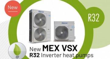 New MEX VSX R32 Inverter Heat Pumps